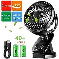 Sendowtek USB Ventilateur Rechargeable, Ventilateur Voiture, Mini Ventilateur à Clip avec Rotation à 360° pour Bébé, 4400mAH Piles Ventilateur de Bureau Portable pour Poussette/Domicile/Extérieur