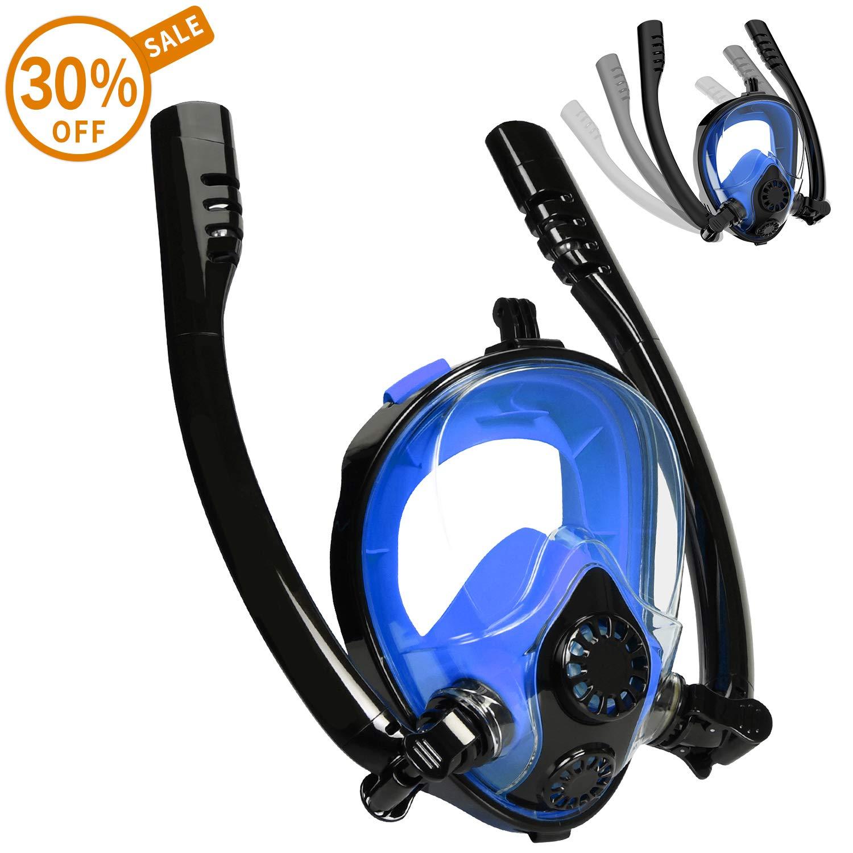 Cevapro Snorkel Mask, Safe K2 Breathing System Full Face Snorkeling Mask for Natural Breath & Safe Snorkeling Anti Leak Anti Fog Diving Mask Dry Snorkel Set for Kids Adult (Black-Blue, S/M)