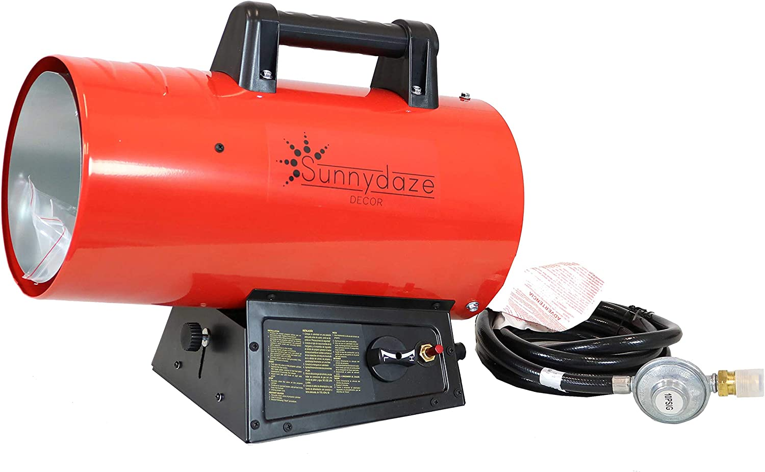 Sunnydaze 60,000 BTU Forced Air Propane Heater - Portable Heat for Construction Sites - Auto-Shutoff for Overheating Protection - Adjustable Heating Output - Piezo Ignition - Red and Black