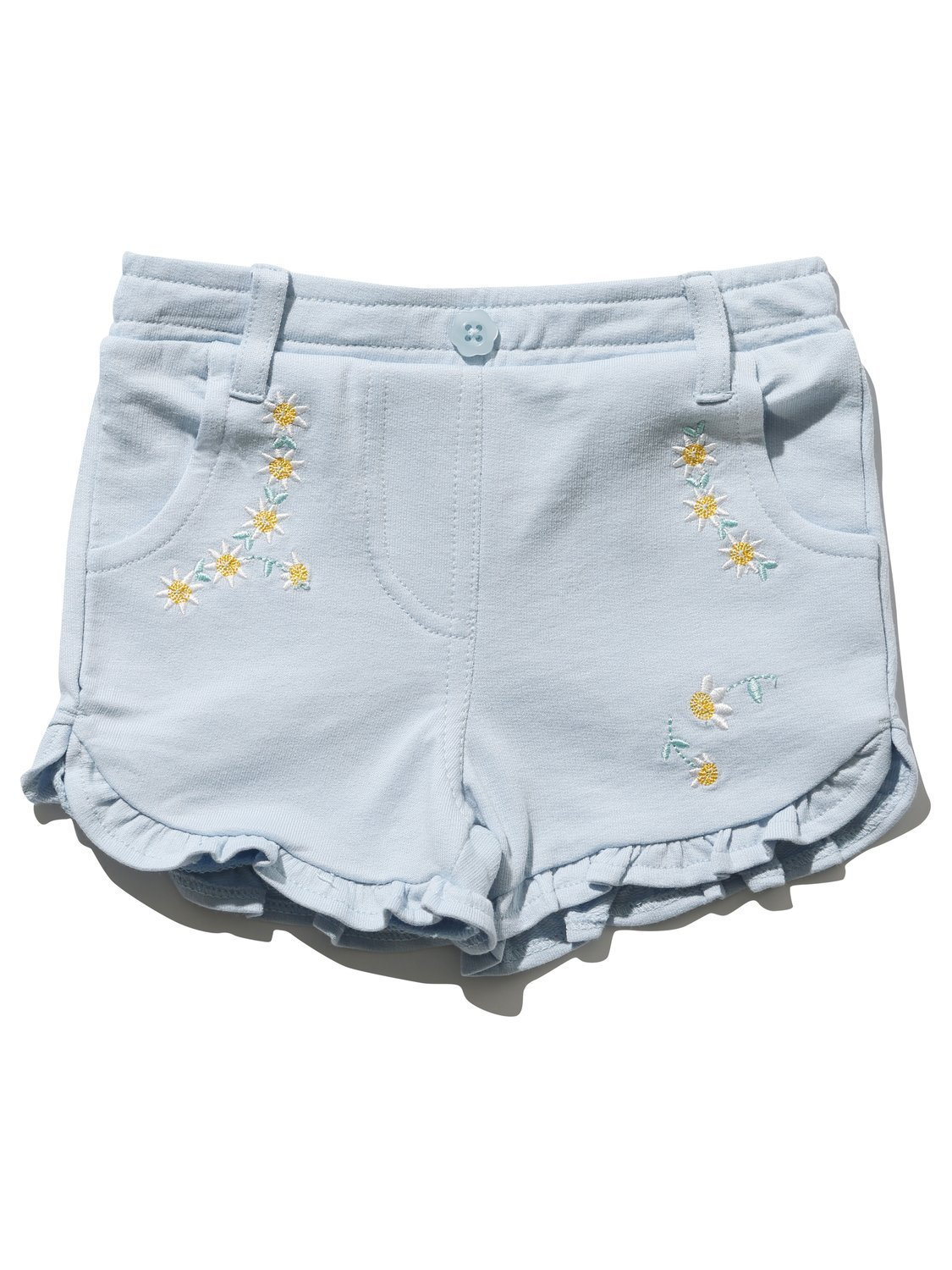 M& Co Baby Girl 100% Cotton Jersey Light Blue Pocket Detail Frill Hem Daisy Embroidered Shorts