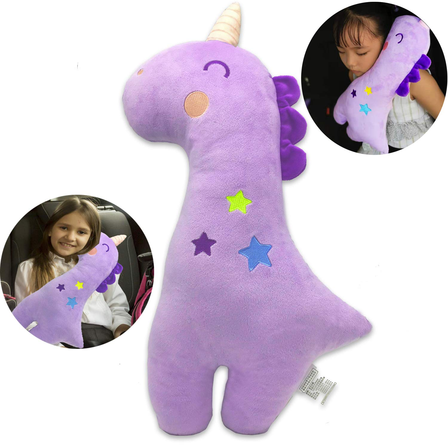 Seatbelt Pillow for Kids, Car Pillow Seat Belt Cushion Kids Seatbelt Pillow, Car Seat Belt Covers Child Seat Head Rest Support Shoulder Pad, Seat Strap Car Pillows Adjuster for Children Baby (Unicorn) by MANNEW