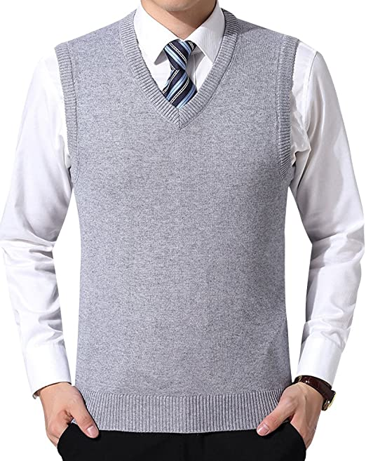 iClosam Canotta Uomo Gilet Maglioni da Uomo con Scollo V Pullunder Pullover Smanicato