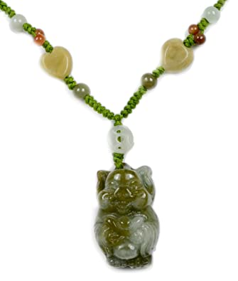 826e8f421 Amazon.com: Cute, Happy Feng Shui Fortune Keeping Pig Olive Green Jade Pendant  Necklace - Fortune Jade Jewelry: Office Products: Jewelry