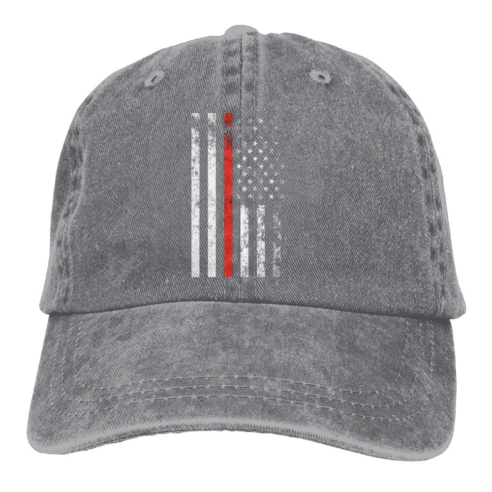 Firefighter Thin Red Line American Flag Plain Adjustable Cowboy Cap Denim Hat for Women and Men