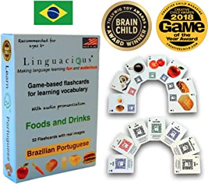 Linguacious Award-Winning Portuguese Foods and Drinks Flashcard Game - with Audio!