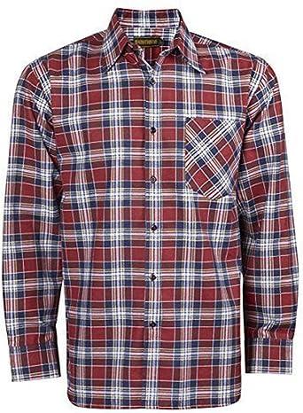 Baum Country Ropa Hombres 100% Algodón Estampado Franela Camisa Cuadros Manga Larga