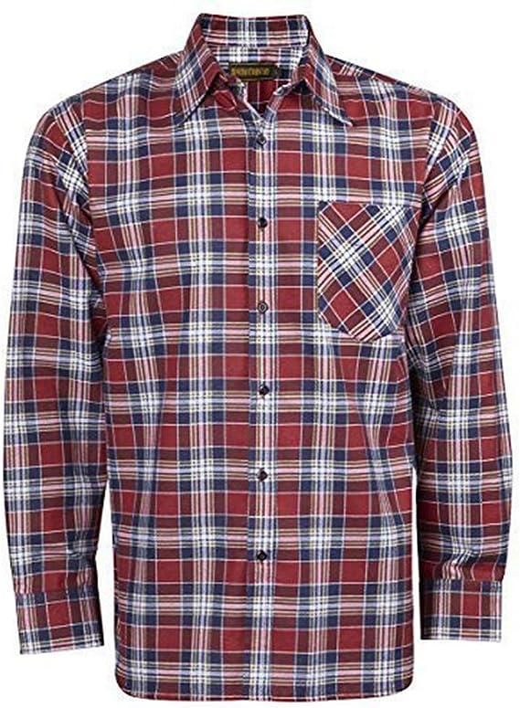 Baum Country Ropa Hombres 100% Algodón Estampado Franela Camisa Cuadros Manga Larga - Vino, X-Large: Amazon.es: Ropa y accesorios