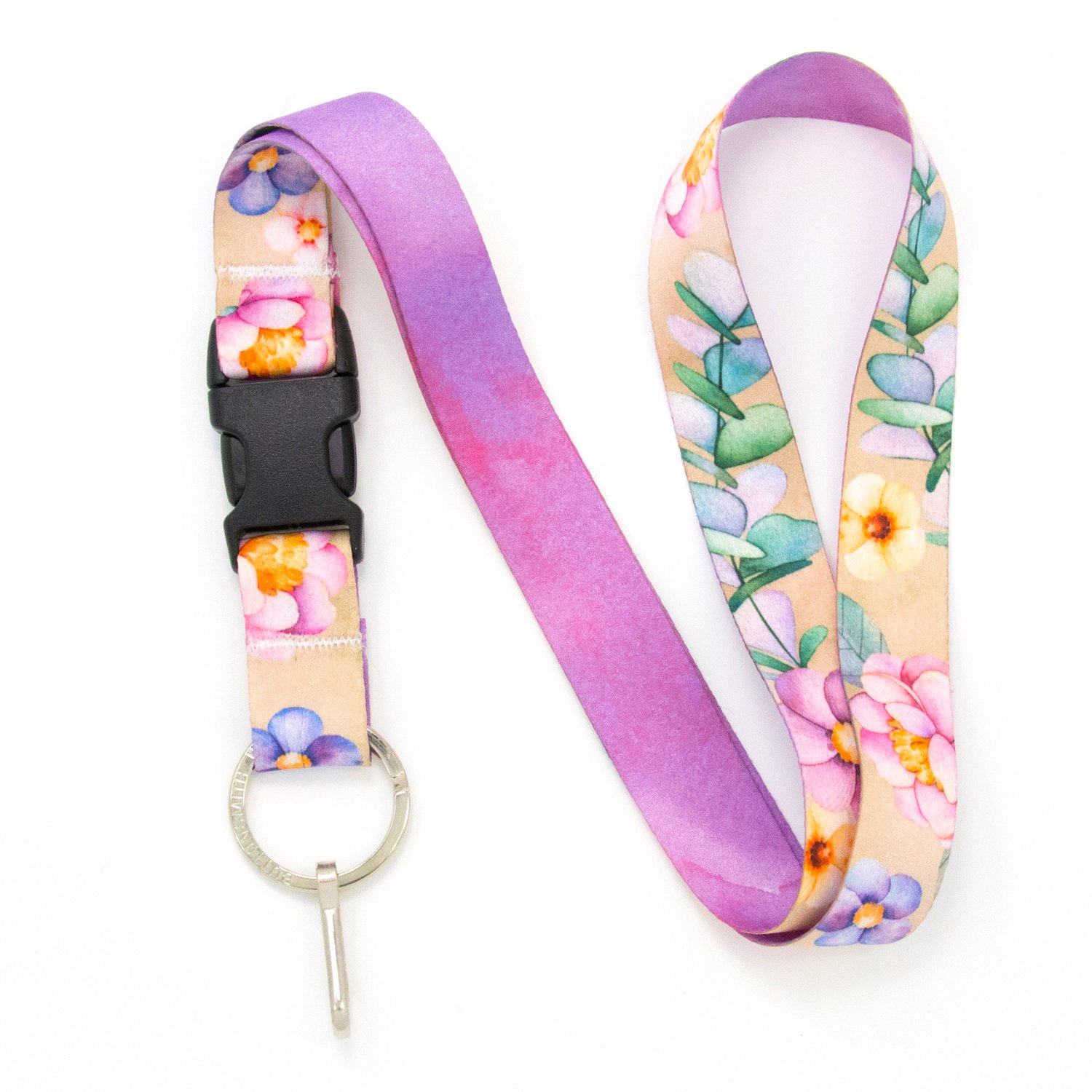 Buttonsmith Watercolor Flowers Premium Lanyard with Buckle and Flat Ring - Made in The USA