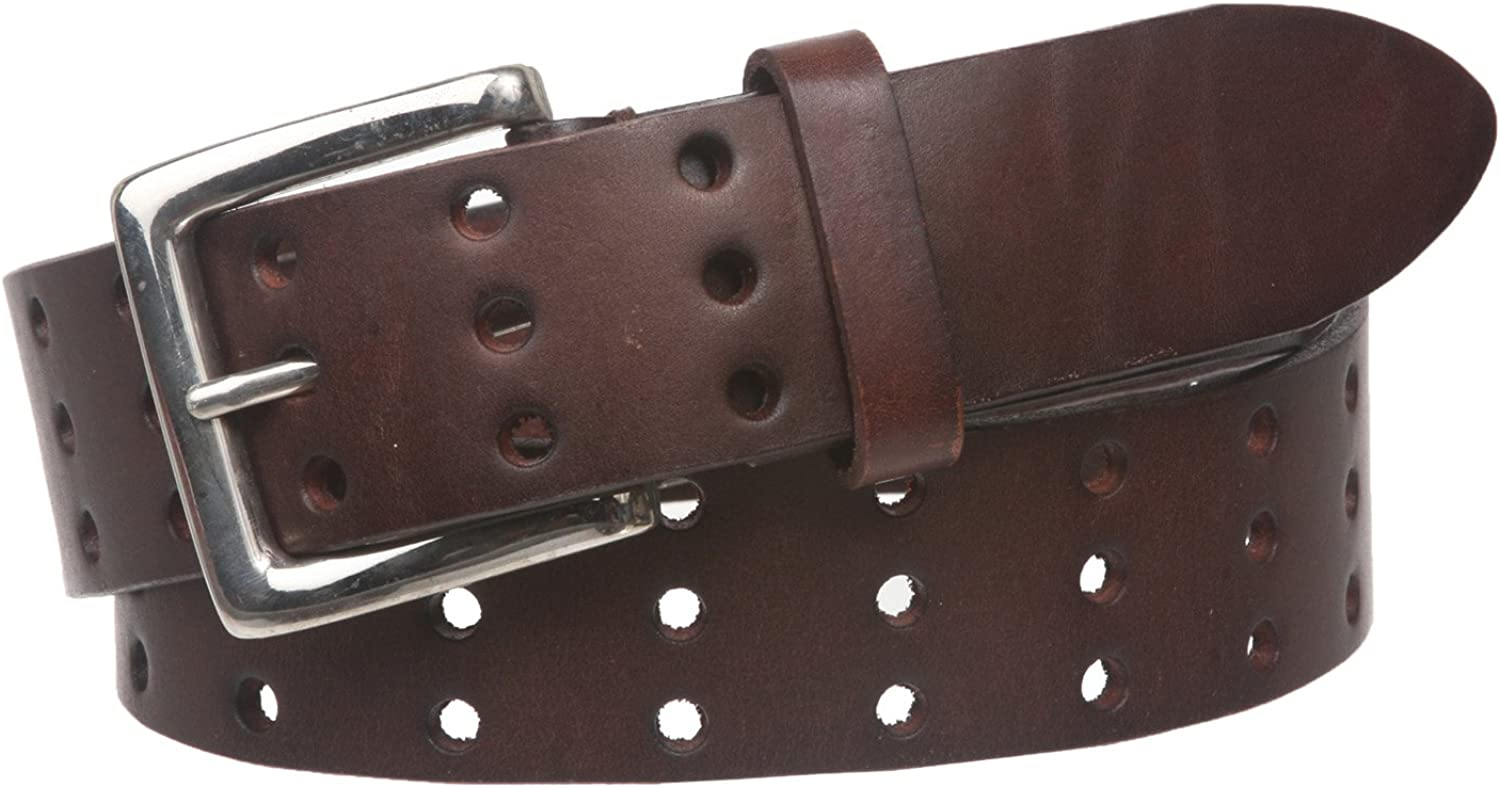 1 1//2 Triple Holes Perforated Cowhide Full Grain Leather Casual Belt 38mm