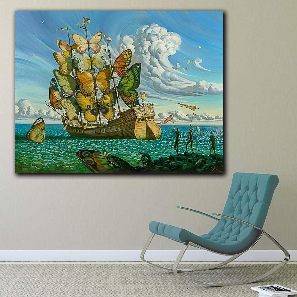 HXLFYM Lienzo de Pintura en Interiores Arte De La Pared De La Moda Salvador Dalí Pintura De La Mariposa De La Nave Cuadros De La Pared For Las Pinturas Al Óleo Impresa Sala Decoración HD