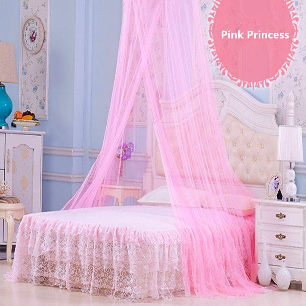 IEVE Pink Girls Princess Mosquito Net Bed Canopy, Money-back Guarantee