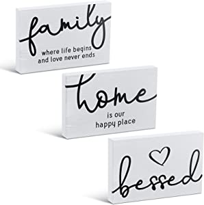 Jetec 3 Pieces Family Home Bessed Rustic Wood Sign Mini Wood Decorative Signs Farmhouse Woodworks Decors Table Decorations Signs for Bedroom Kitchen Living Room Table Decorations