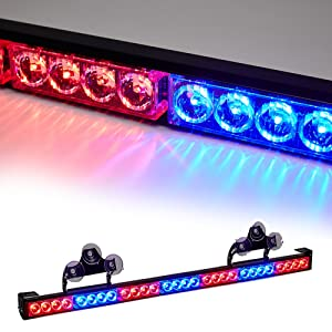 SmallfatW 32 Inch 28 LED Windshield Emergency Warning Traffic Advisor Flash Strobe Light Bar with Cigar Lighter and Suction Cups Fit for Police, Snow Plow, Truck, Law Enforcement Vehicle (Red/Blue)