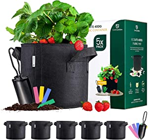 GenGarden [5 Pack] 5 Gallon Grow Bags 400G - Fabric Pots for Plants with 1x Garden Spade, Heavy Duty Thickened Nonwoven Plant Grow Bag, Great for Drainage & Aeration