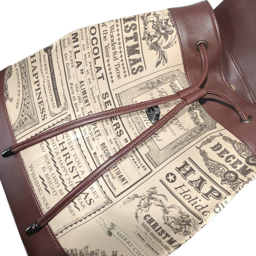 Leather Backpack European Plant Newspaper Travel Shoulder Bag For Women Ladies Girls