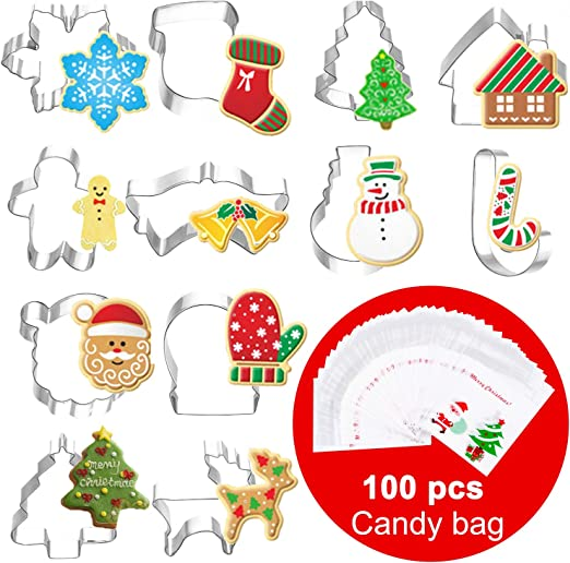 Christmas Cookie Cutter Set 12 Piece Stainless Steel