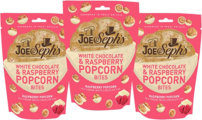Joe & Sephs White Chocolate & Raspberry Popcorn Bites 3 Pack ...
