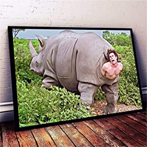 DOLUDO Wall Art The Rhino in Ace Ventura Canvas Posters Painting for Living Room Bedroom Decor Gifts Artwork No Frame 12x20inch