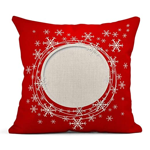 Cojín Rojo Blanco Navidad Copos de Nieve Nieve Vintage ...