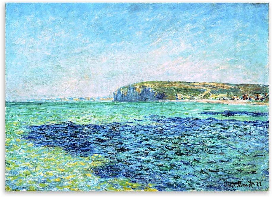 WWWMR Claude Monet Blue Sea Sky Impresionista Moderno Impresión del Cartel Paisaje Original Lienzo Famoso Pintura al óleo Arte de la Pared 16x24inch (40×60cm)