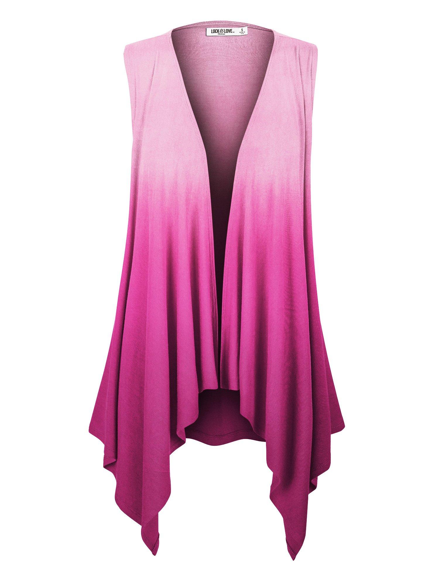 WSK1095 Womens Lightweight Sleeveless Ombre Open Front Cardigan Vest XL FUCHSIA