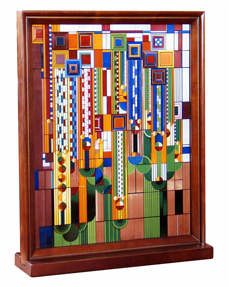 Frank Lloyd Wright Saguaro Wood Framed Stained Glass YTC Summit WFLW093