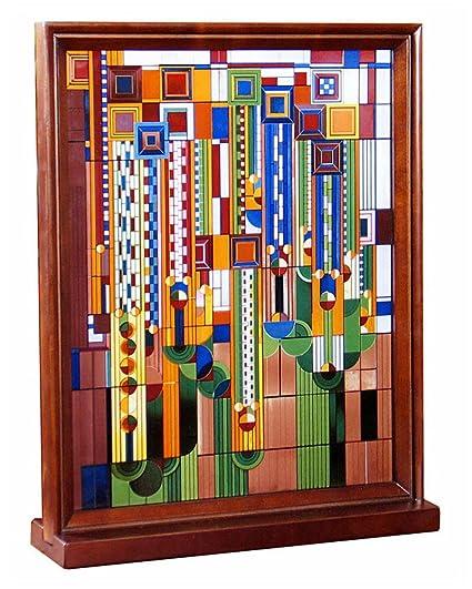 Amazon.com: Frank Lloyd Wright Saguaro Wood Framed Stained Glass ...
