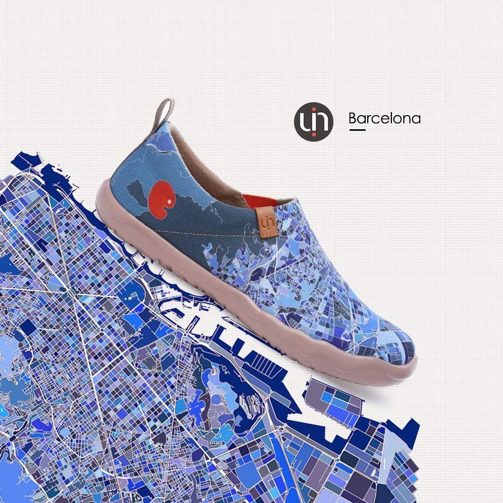 UIN Womens Men Inspiration on Barcelona Canvas Slip-On Sneaker Loafer Fashion Art Travel Painted Shoe Blue