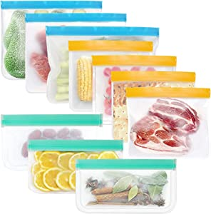 10 Thickened Silicone Bags Reusable Storage, Freezer Leakproof Reusable Food Storage Bags BPA Free (4 Sandwich Bags, 3 Gallon Bags, 3 Snack Bags)