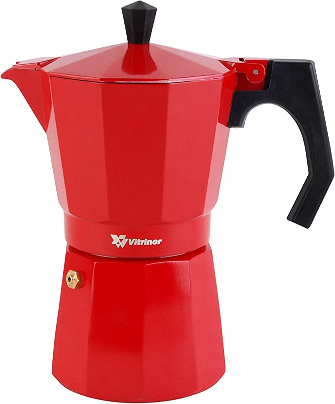 VITRINOR Praga Cafetera Italiana, Aluminio, Rojo, 3 Tazas: Amazon.es: Hogar