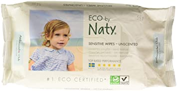 NATY Fragrance Free Sensitive Eco Wipes, 56 CT