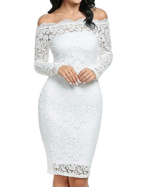 Imixcity Vestido de Fiesta Encaje Manga Larga sin Hombros Lápiz Mujer Bodycon (Blanco, S