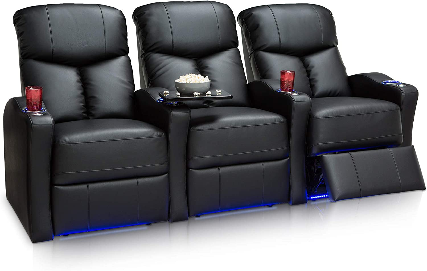 Seatcraft Raleigh Home Theater Seating Power Recline Leather Gel Row of 3, Black