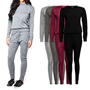 c5949d2964ce Womens Tracksuit Ladies Melange Loungewear Set Sweatshirt Joggers Tracksuit  Pant: Amazon.co.uk: Clothing
