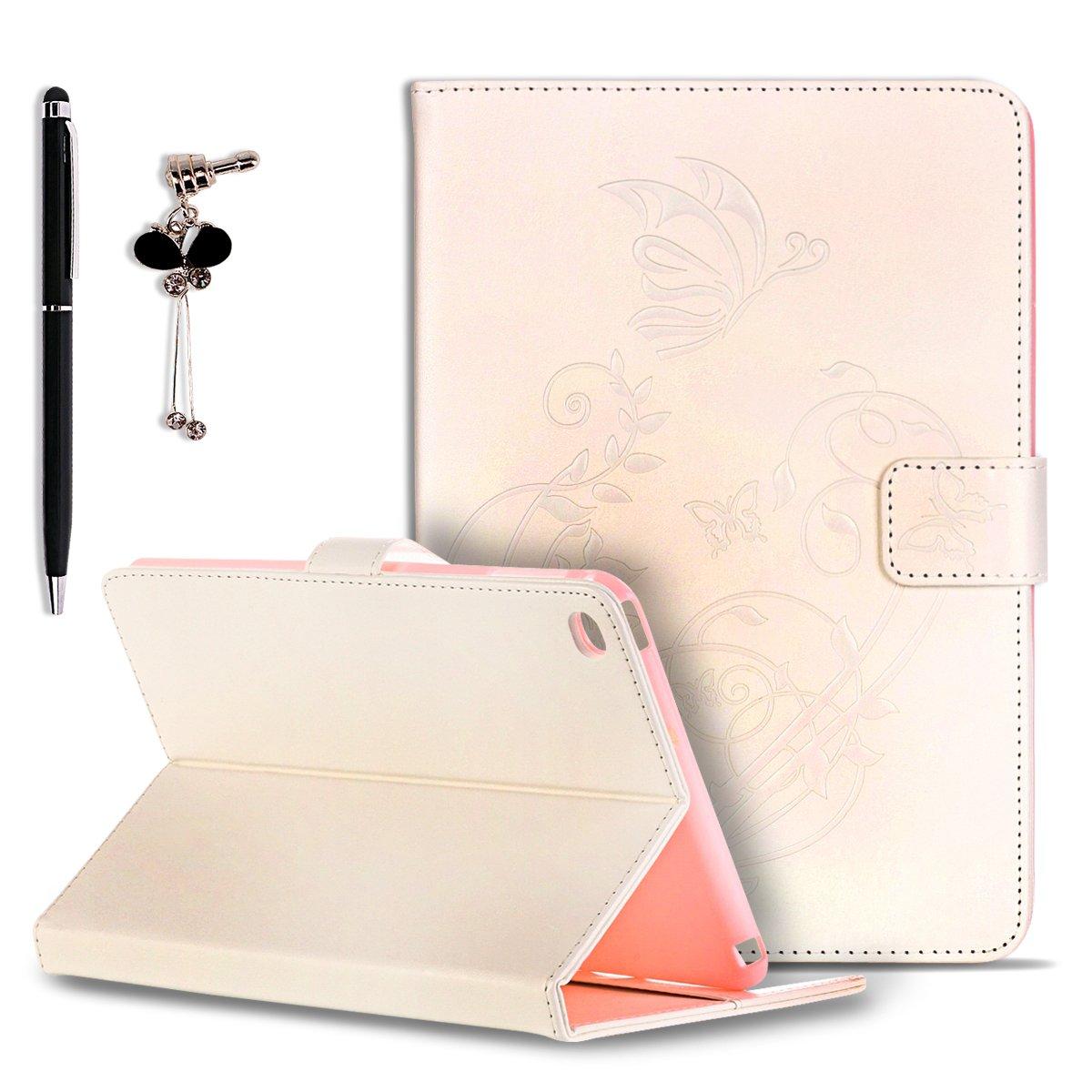 Etui iPad Mini 1 // 2 // 3 Stylet et Bouchon Anti-Poussi/ère SpiritSun Housse de Protection en Cuir Smart Case pour Apple iPad Mini 1 // 2 // 3 Retro Fleur Motif Design avec Fonction Stand // Auto R/éveil // Veille Rose Vif