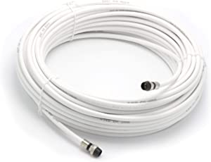 100' Feet, White RG6 Coaxial Cable with Rubber booted - Weather Proof - Outdoor Rated Connectors, F81 / RF, Digital Coax for CATV, Antenna, Internet, & Satellite