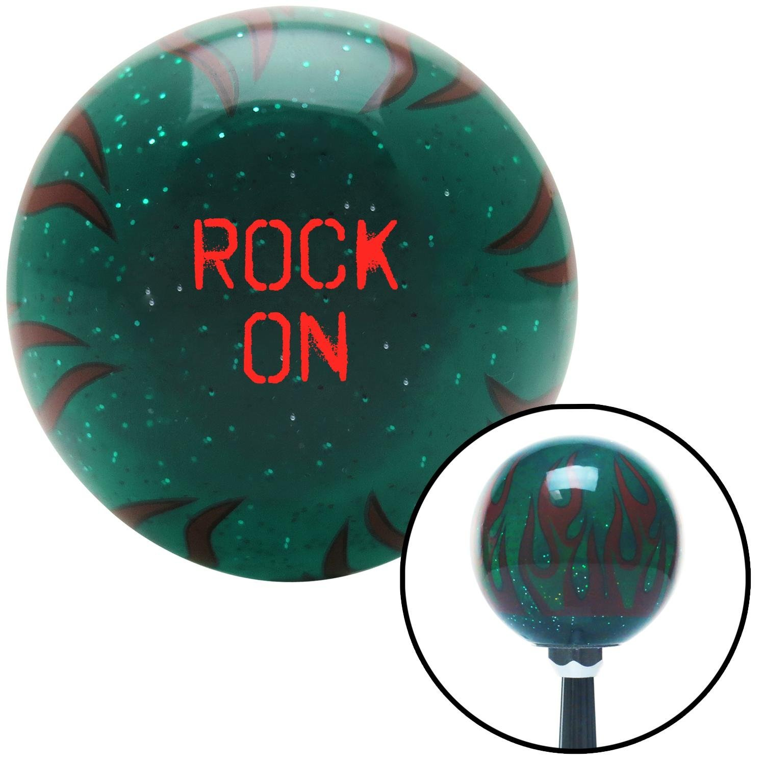 Red Rock On Green Flame Metal Flake with M16 x 1.5 Insert American Shifter 301043 Shift Knob
