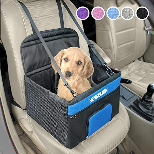 Henkelion Pet Booster Seat,Deluxe Pet Dog Booster Car Seat for Small  Dogs/Medium Dogs, Reinforce Metal Frame Construction | Portable Waterproof  Collapsible Dog Car Carrier with Seat Belt - Black Blue: Amazon.in: Pet
