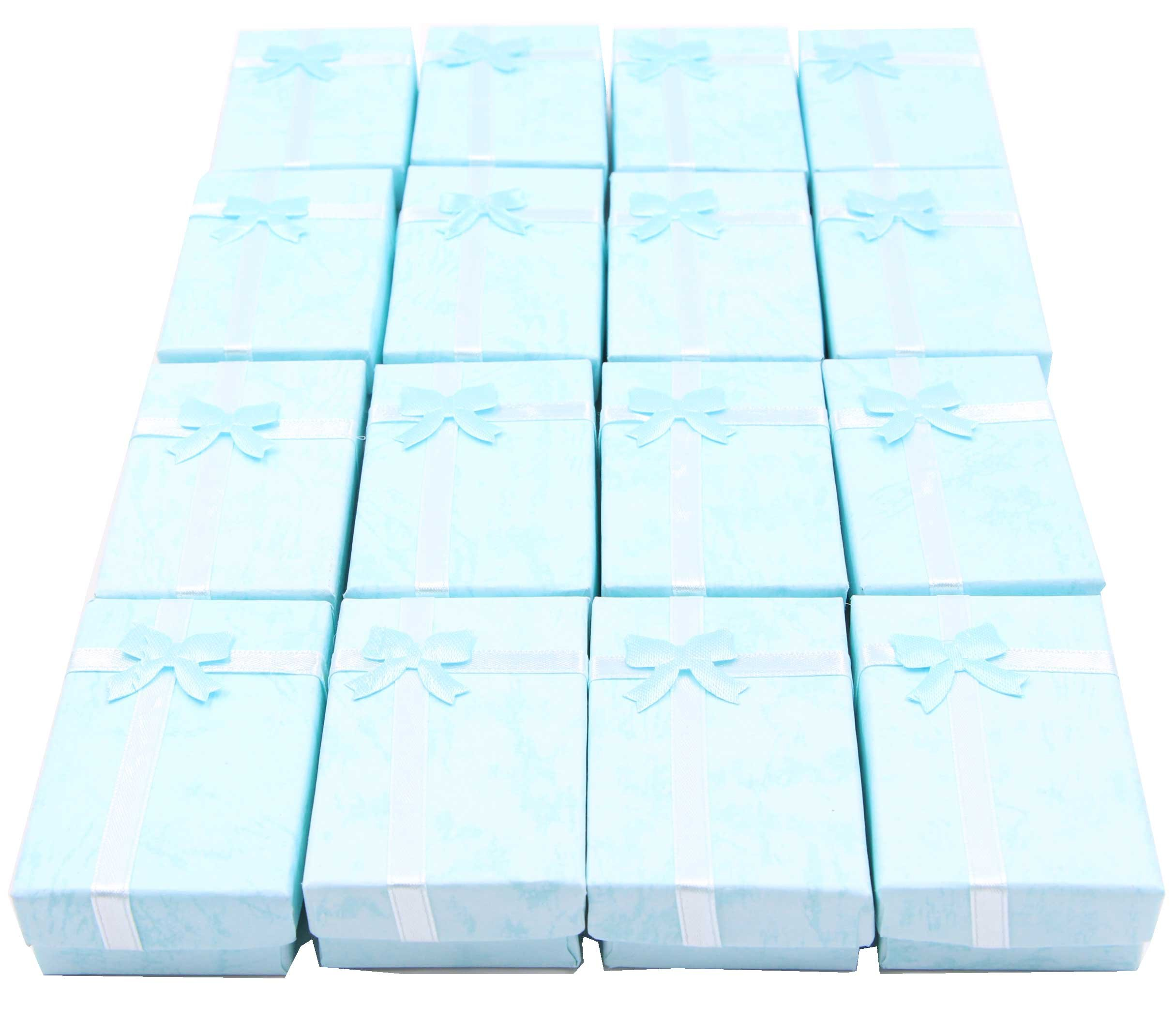 LeBeila 16pcs Paper Jewelry Gifts Boxes For Jewelry Display-Rings, Small Watches, Necklaces, Earrings, Bracelet Gift Packaging Box (Sky Blue)