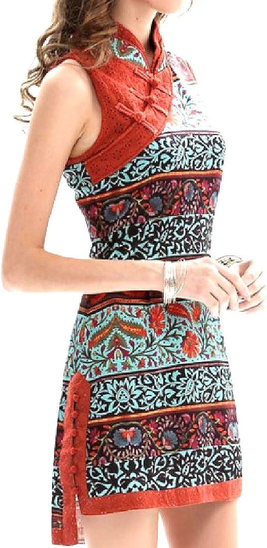 Howme Womens High Low Retro Style Sleeveless Chirpaur Midi Dress As Picture S