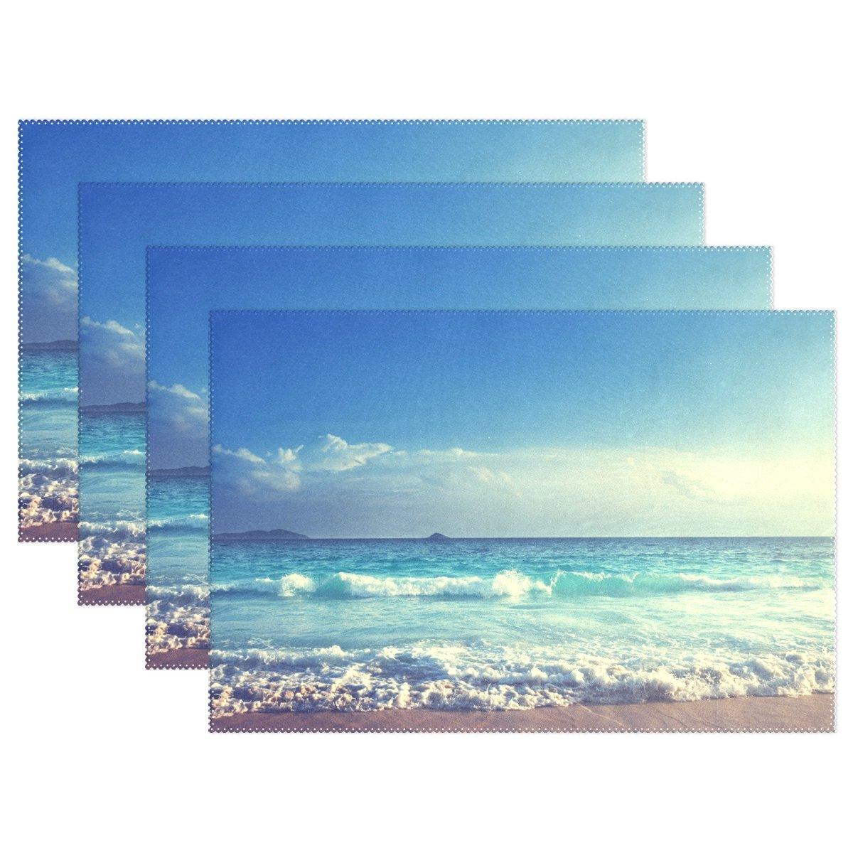 WozoヴィンテージブルーSky Ocean Wave Seaプレースマットテーブルマット12