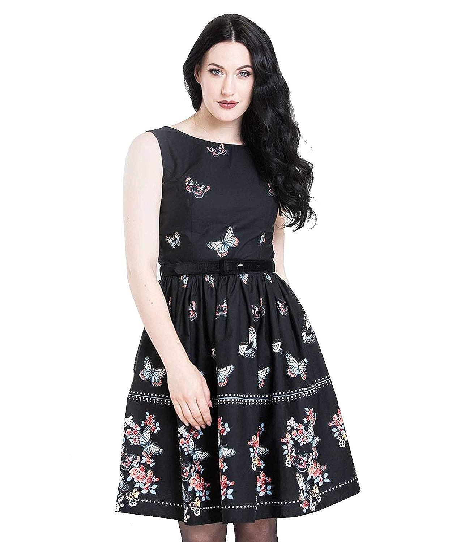 Hell bunny Schmetterling Chiffon Kleid Blumenmuster 40s Retro Tee Schwarz XS-4XL