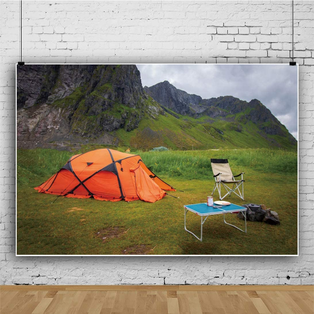 CSFOTO 10x8ft Camp Backdrop Camping Theme Party Hiking Go Fishing Scout Tent Autumn Scenery Mountian Tree Family Event Background for Photography Adults Portrait Vinyl Wallpaper