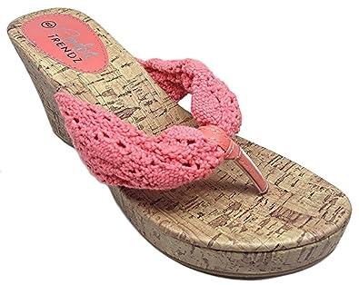 8150c82b46c953 Comfort Trendz Crochet Cork Platform Wege Thong Sandals (7