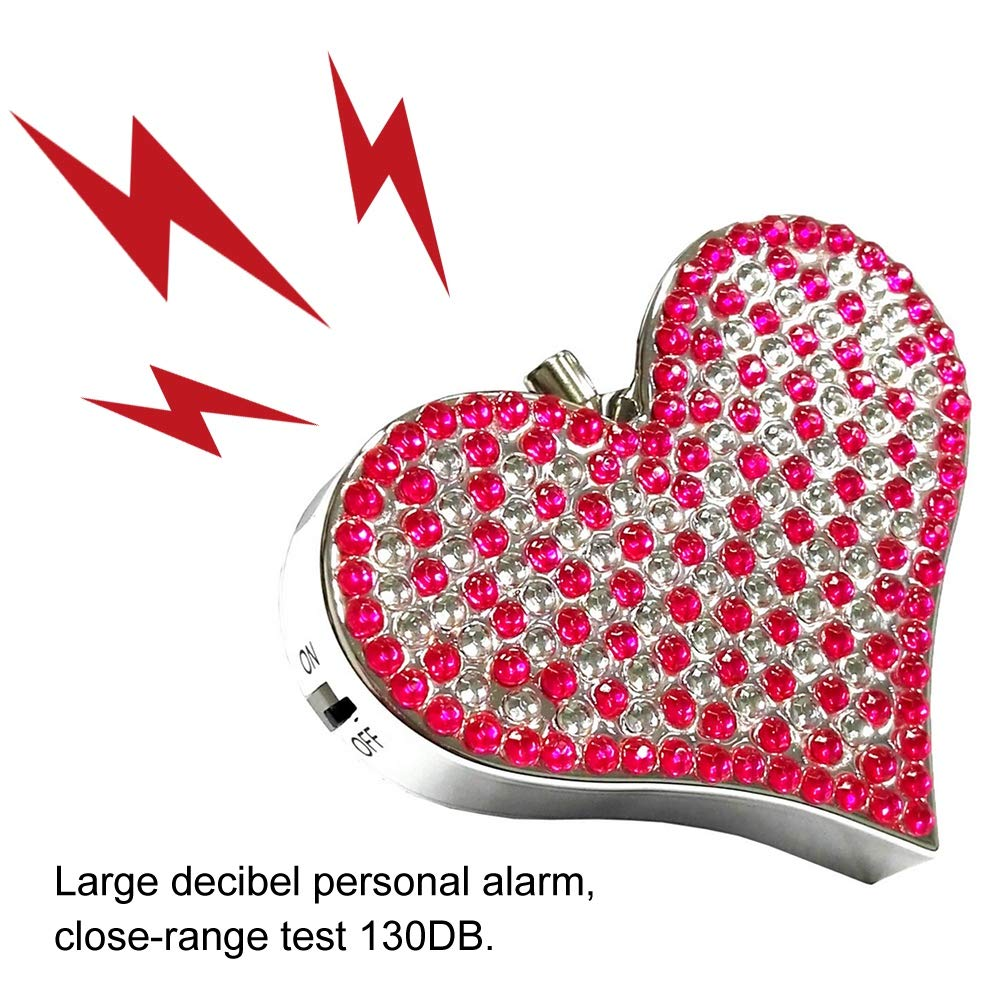 Autodefensa Alarma Forma de coraz/ón Seguridad Proteger Alerta Personal para Hombres Mujeres Ni/ños Estudiantes Silver Vigilant 130dB Alarma Personal