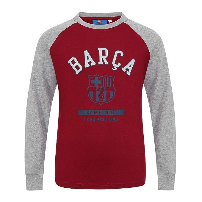 9dcd135ed4543 FC Barcelona - Camiseta oficial con mangas raglán - Para niños - Con el  escudo del club  Amazon.es  Ropa y accesorios