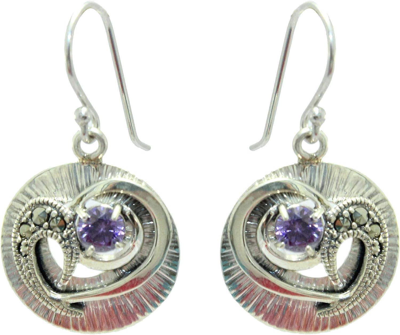 Rajasthan Gems - Pendientes de plata de ley 925 con piedra de marcasita y circonita morada de 4 pulgadas