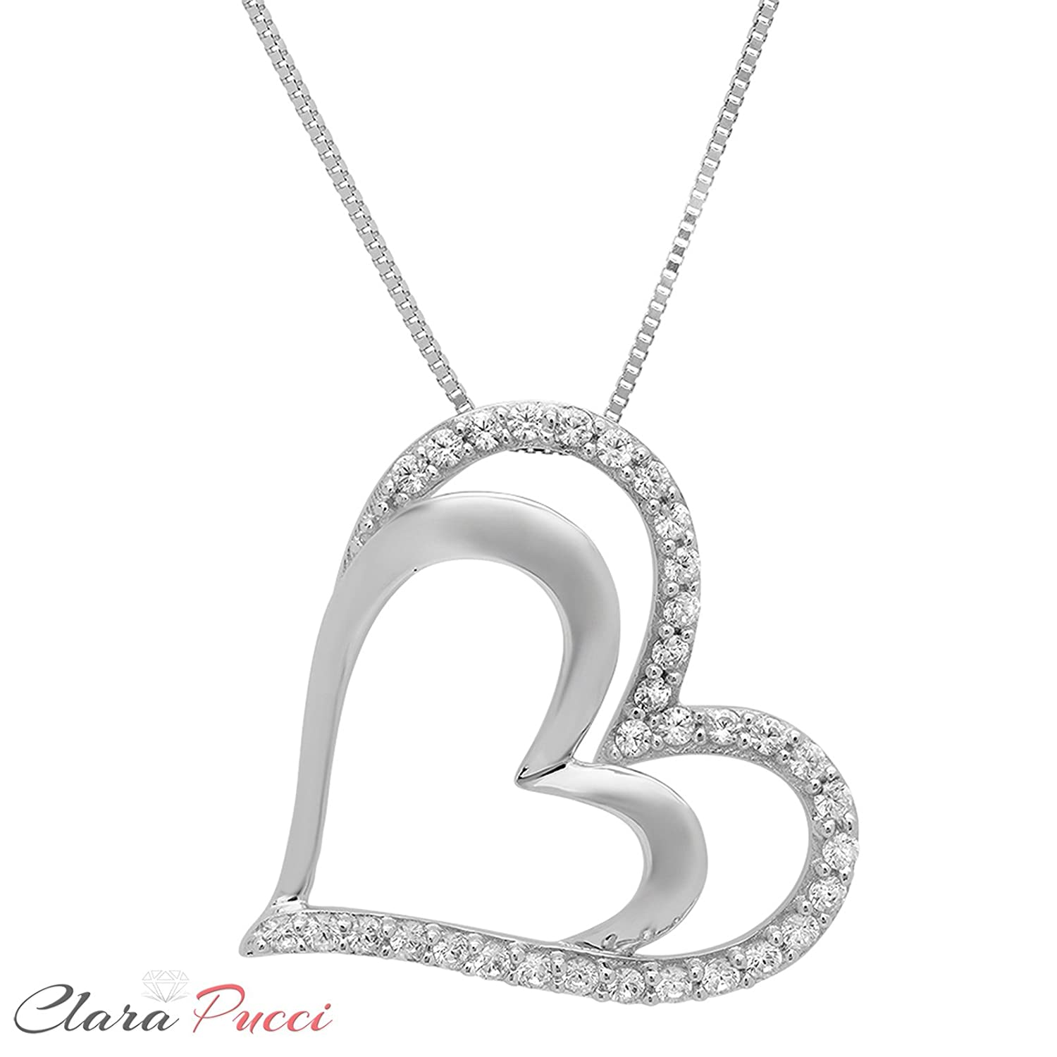 Clara Pucci 0.15 CT Heart Brilliant Round Cut CZ 14K White Gold Pendant Box Necklace 16 Chain