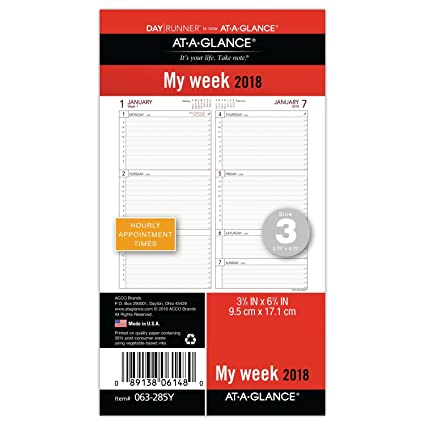 amazon com at a glance day runner weekly planner refill january