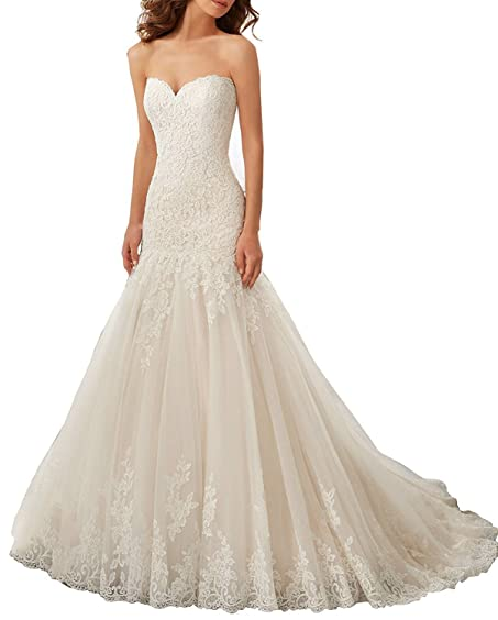ZVOCY Womens Sweetheart Lace Applique Mermaid Wedding Dresses Plus Size Bridal Gown Light Ivory 2